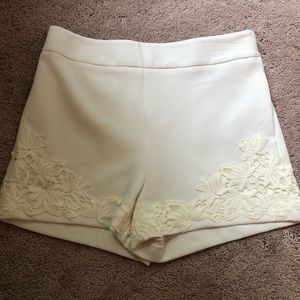 NWOT white/ivory short with lace detail!
